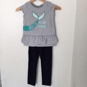 Gymboree outfit mermaid shirt and navy blue pants